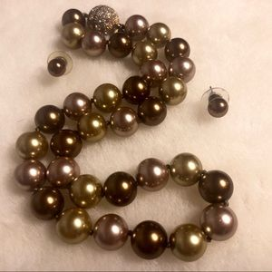 Jewelry - Pearl Necklace & Earring Set (Bronze) Magnetic